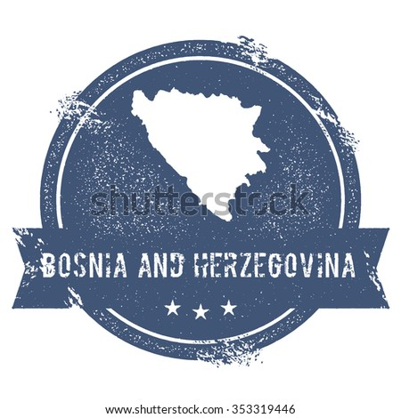 Travel rubber stamp with the name and map of Bosnia and Herzegovina, vector illustration. Can be used as insignia, logotype, label or badge vector design element. - stock vector