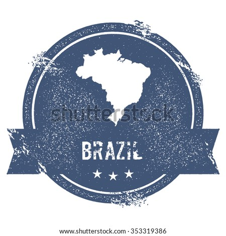 Travel rubber stamp with the name and map of Brazil, vector illustration. Can be used as insignia, logotype, label or badge vector design element. - stock vector