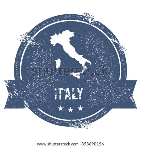 Travel rubber stamp with the name and map of Italy, vector illustration. Can be used as insignia, logotype, label or badge vector design element.