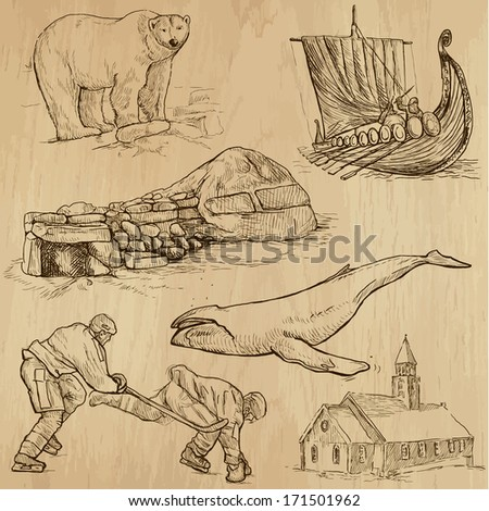 Travel : SCANDINAVIA set no.2 (Denmark, Norway, Sweden and Island). Collection of hand drawn illustrations. Each drawing comprises two or three layers of outlines, the colored background is isolated. - stock vector