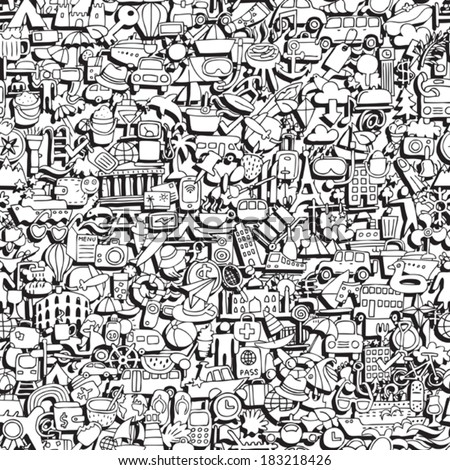 Travel seamless pattern in black and white (repeated) with mini doodle drawings (icons). Illustration is in eps8 vector mode. - stock vector