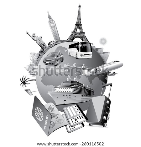 travel service gray - stock vector
