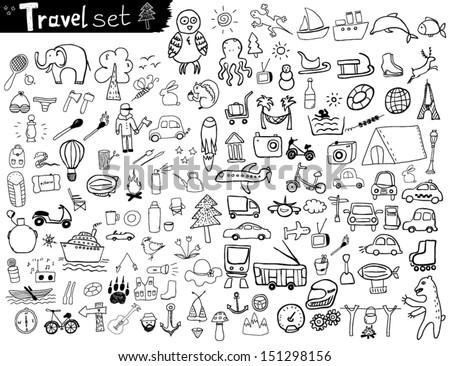 Travel Set - stock vector