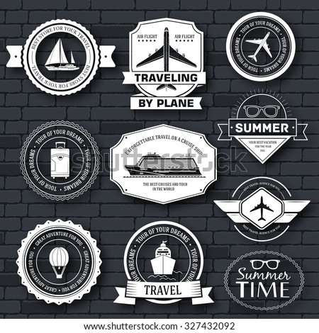 Travel set label template of emblem element for your product or design, web and mobile applications with text. Vector illustration with thin lines isolated icons on stamp symbol - stock vector