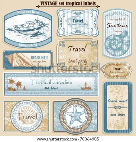Travel set vintage ornate vector labels - stock vector