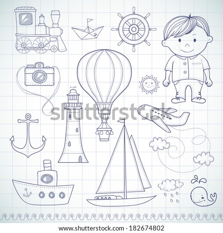 Travel set with little boy. - stock vector