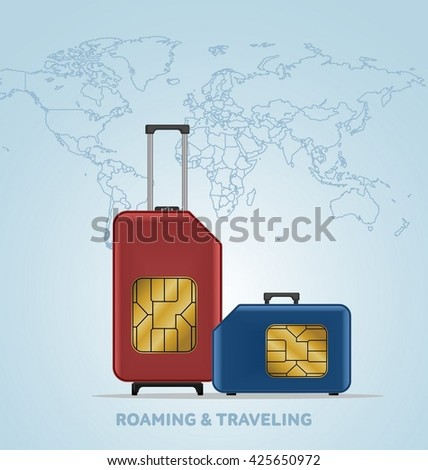 Travel SIM vector illustration on blue radial gradient background. Roaming. Luggage. World map. - stock vector