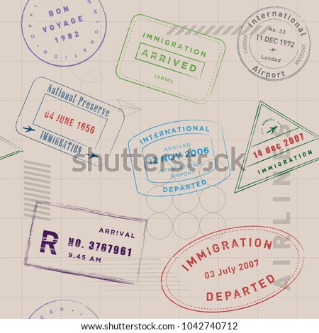 Travel stamp collection pattern. Vintage, modern, and flexible stamp pattern. The art vector graphic can be repeated. Stamp collection for traveling themes.
