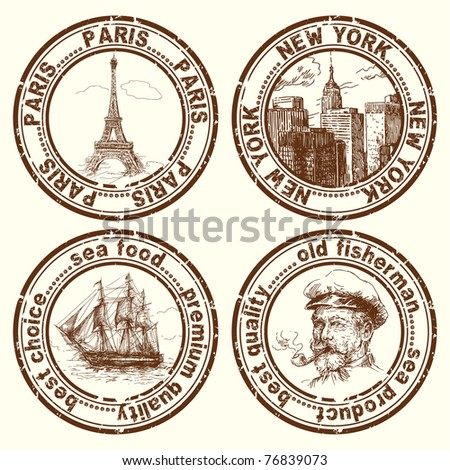 travel stamps - stock vector