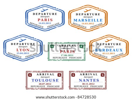 Travel stamps from France. Grungy scalable stamps (not real). French destinations: Paris, Marseille, Lyon, Bordeaux, Toulouse and Nantes. - stock vector