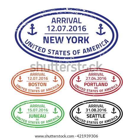 Travel stamps from sea ports - cruise destinations in the United States. - stock vector