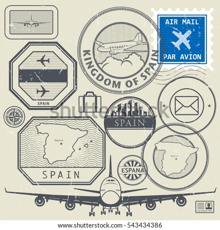 Travel stamps or adventure symbols set, Spain theme, vector illustration