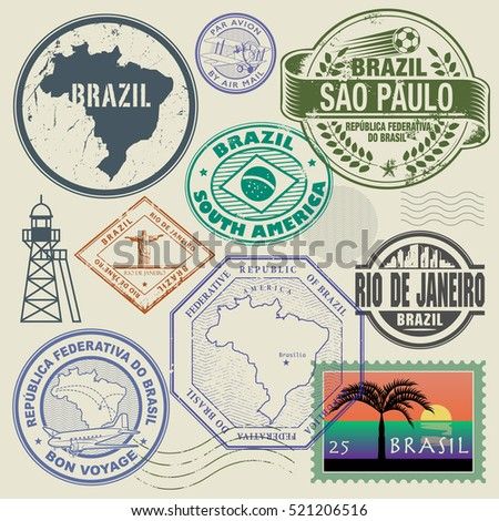 Travel stamps or symbols set, Brazil, South America theme, vector illustration