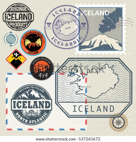 Travel stamps or symbols set, Iceland theme, vector illustration. .