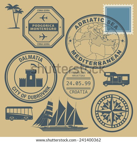 Travel stamps set, Mediterranean, vector illustration - stock vector