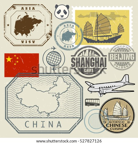Travel stamps set with the text Chine, Shanghai, Beijing (in chinese language too) and China map, vector illustration