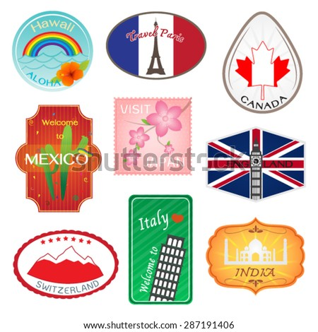 Travel Stickers Design Collection - stock vector