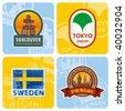 Travel stickers set. Vector - stock vector