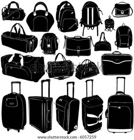 travel suitcase and bag vector - stock vector