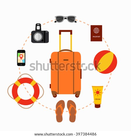 Travel suitcase concept with travel elements, voyage tourism icons. Summer travel suitcase concept. Voyage travel baggage  concept in flat style. Vector illustration of summer tourism background - stock vector