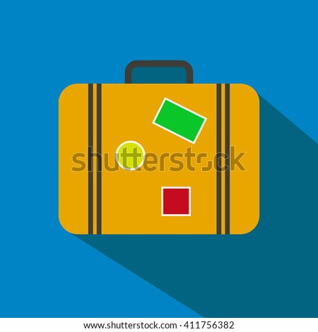 Travel suitcase simple vector icon. - stock vector