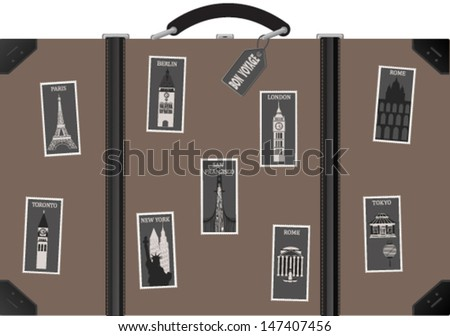 Travel  suitcase with postage stamps with famous cities. Vector - stock vector
