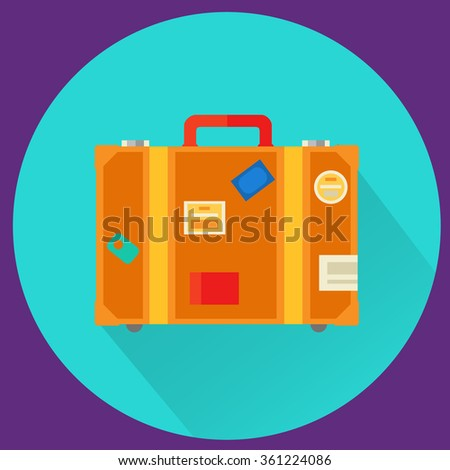Travel Suitcase with stickers - stock vector