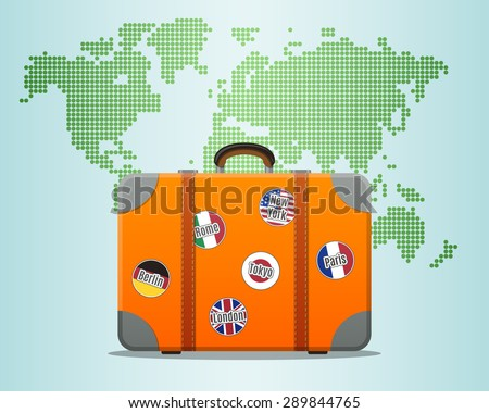 Travel suitcase stickers world map stock photo photo vector travel suitcase with stickers and world map gumiabroncs Image collections