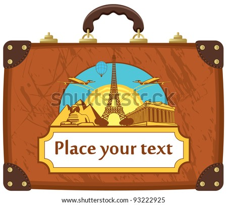 travel suitcase with various tourist attractions - stock vector