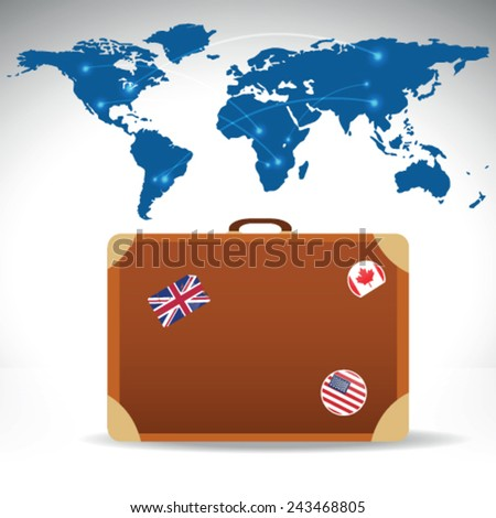 Travel suitcase world map vector image stock vector 243468805 travel suitcase with world map vector image gumiabroncs Image collections