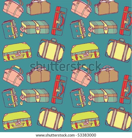travel suitcases seamless - stock vector
