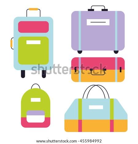 Travel Suitcases Vector Set - stock vector