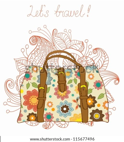 Travel Suitcases with floral pattern Background, illustration,vector - stock vector