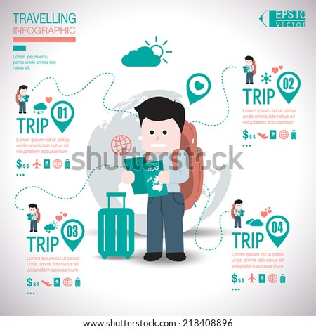 Travel Template Design Infographic - stock vector