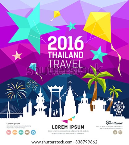 Travel Thailand new year with silhouette landmark on colorful geometric design background, vector illustration - stock vector