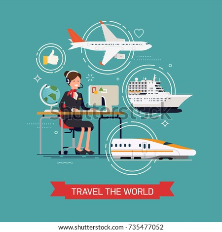 Travel the world concept illustration with friendly female travel agency specialist behind work desk with abstract travel options on background. Travel by plane, ship or train