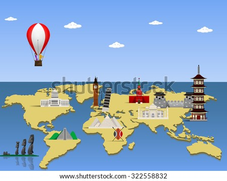 Travel the world monument concept. Vector illustration - stock vector