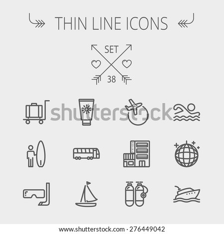 Travel thin line icon set for web and mobile. Set includes- yacht, oxygen tank, snorkel with mask, luggage, hotel, sailboat, plane icons. Modern minimalistic flat design. Vector dark grey icon on - stock vector