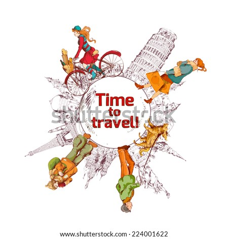 Travel time sketch colored poster with world landmarks and people vector illustration - stock vector