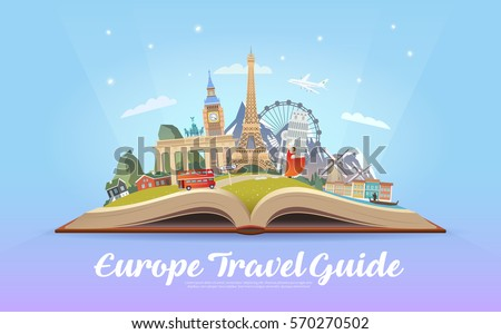 Travel Europe Road Trip Tourism Open Stock Vector - Travel to europe