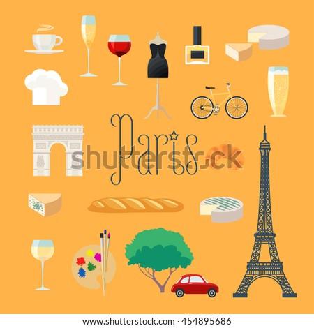 Travel to France, Paris vector icons set. French, Parisian landmarks, Eiffel tower, arch Triumph, dress, croissant, baguette, coffee - stock vector