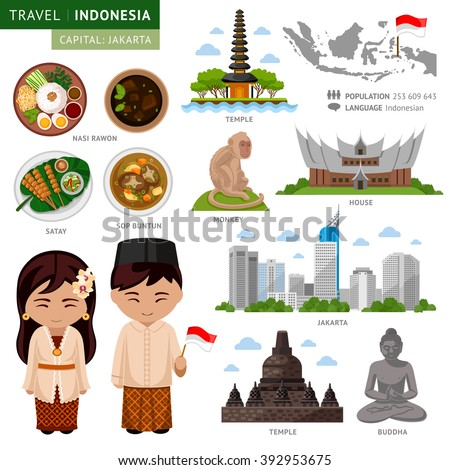 Travel Indonesia Bali Set Traditional Cultural Stock Vector 392953675  Shutterstock
