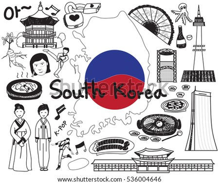 "Travel to South Korean doodle drawing icon with culture, costume, landmark and cuisine tourism concept in isolated background. The Korean text in the picture means ""Ohh"" or ""Ahh""."