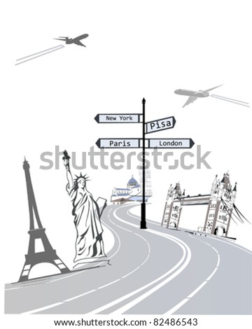 Travel to the world famous sights - stock vector
