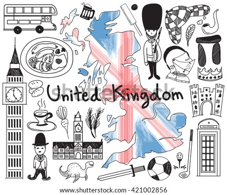 Travel to United kingdom England and Scotland doodle drawing icon with culture, costume, landmark and cuisine tourism concept in isolated background. Vector