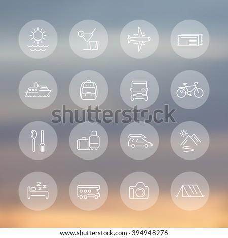 Travel, tourism line icons, recreation, trip, tour, journey transparent icons set, vector illustration - stock vector