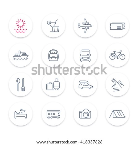 Travel, tourism line icons set, recreation, trip, tour, journey, linear pictograms on round shapes, vector illustration - stock vector