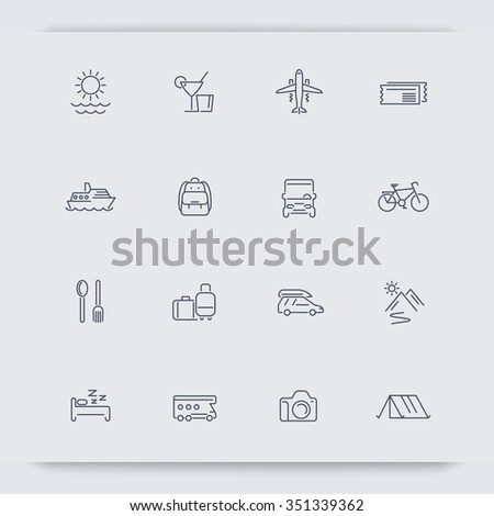Travel, tourism, trip, recreation, vacation thin line icons, vector illustration - stock vector