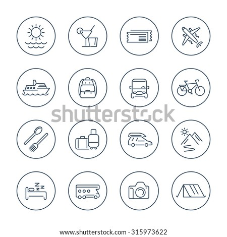 Travel, tourism, trip, vacation line icons pack, vector illustration - stock vector
