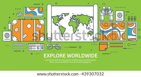 Travel,tourism vector illustration in flat outline style.Line art.World travel banner.Summer holidays,vacation.Travel around the world.Journey,trip plan.Tourists tips.International tourism.World map.